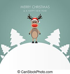 reindeer hat christmas tree white background