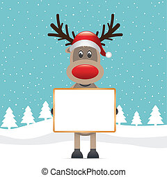 reindeer red nose hold billboard winter landscape