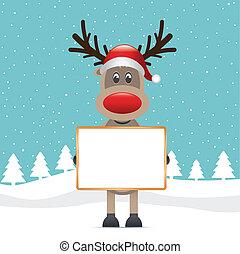 reindeer red nose hold billboard