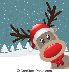 reindeer red nose and hat scarf - rudolph reindeer red nose...