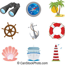 Sea icons. Vector illustration for you design