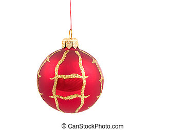 christmas ball - Red christmas ball isolated on white...