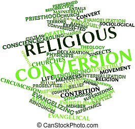 Religious conversion - Abstract word cloud for Religious...