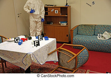 crime scene inside a House with all things overturned during...