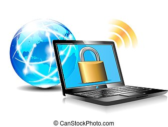 Padlock on laptop screen - Laptop protection - internet...