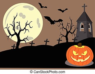 Halloween Night - Halloween night on spooky belfry, bats,...