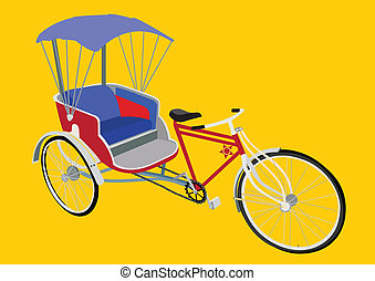 Tricycle in Thailand - The three-wheeled bikes or Samlor in...
