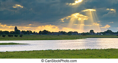 Dutch IJssel river landscape - River landscape of Zalk in...
