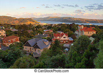 Dunedin during sunset - View over the City of Dunedin on the...