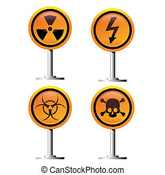 warning signs - warning trefoil, high voltage and jolly...