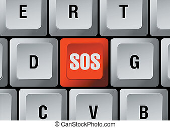 distress signal button - keyboard with red distress signal...