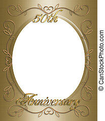 50th Wedding invitation - 3D Illustrated design for 50th...