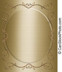 Wedding invitation gold - 3D Illustrated design for golden...