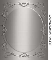 Silver satin Invitation - 3D Illustrated design for party,...