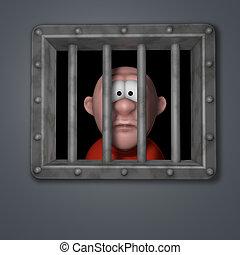 cartoon guy in prison - cartoon guy behind riveted steel...
