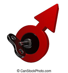 male drive - male symbol with wind-up key - 3d illustration