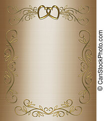 Wedding invitation - 3D Illustrated design for golden...