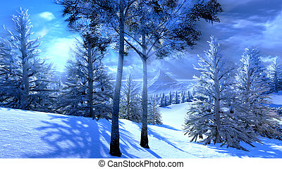 Christmas, magical forest - artwork