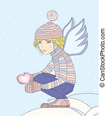angel. - Young girl - an angel, holds a heart in a hand.