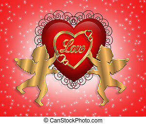 Valentine Heart and Cupid - 3D heart and cupids for...