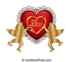 Valentine 3D - 3D heart and cupids for Valentine or wedding...