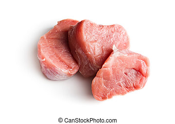 sliced raw pork meat on white background