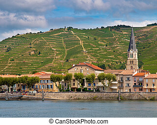 Vineyards in the Cote du Rhone France - A riverside Village...