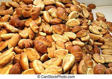Fresh baked bread in a bakery