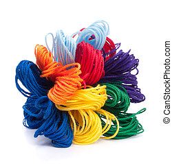 Color threads bunch isolated on white background cutout