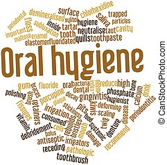 Oral hygiene - Abstract word cloud for Oral hygiene with...
