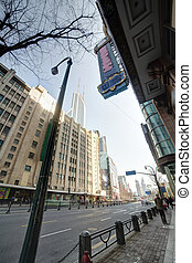 streetview of shanghai town - streetview of downtown in...