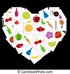 Heart from instant photos vector illustration