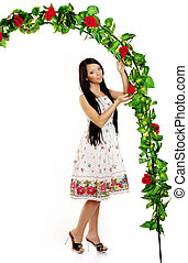 ?ute girl near the arch entwined by roses - Picture of cute...