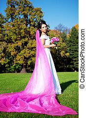 beleza, Noiva, longo, roxo, véu