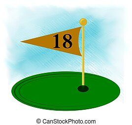 18th hole flagstick icon