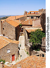 old stone village with red tile roofs Portugal - Old...