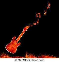 Infernal guitar. - Illustration with flame guitar on black...