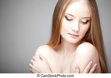 Girl with luxurious hair - The image of a woman with...