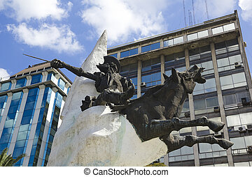 Don Quixote - Statue of Don Quixote de la Mancha and...