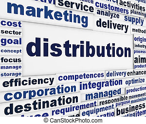 Distribution marketing message background. Merchandising...