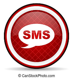 sms red glossy icon on white background