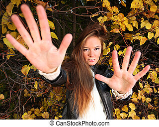 woman girl portret in autumn green leaf wall - Young woman...