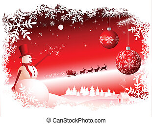 Vector Christmas Background. Red version. All elements are...