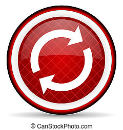 reload red glossy icon on white background