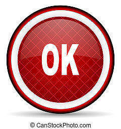 ok red glossy icon on white background