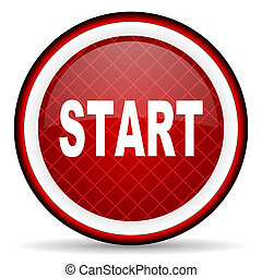 start red glossy icon on white background
