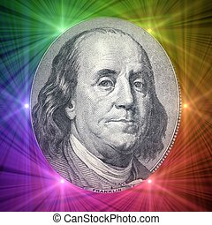 Spectrum of Talent - Flare lights behind Benjamin Franklin...