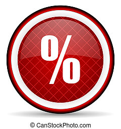 percent red glossy icon on white background