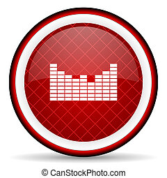 sound red glossy icon on white background