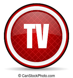 tv red glossy icon on white background
